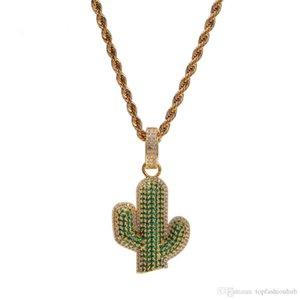 Мужчины хип-хоп Iced Out Bling Cactus Форма Подвеска Ожерелье Мода Модные Подвески Ожерелье Hiphop ювелирных изделий