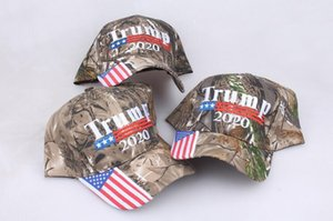 Wholesale-Camouflage Donald Trump hat USA Flag baseball cap Keep America Great 2020 Hat 3D Embroidery Star Letter Camo adjustable Snapback