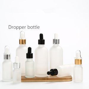 5/10/15/20 / 30ml Frost Glas Tropfflasche Silber Gold Schwarz Deckel Kosmetikverpackungsbehälter Ätherisches Öl Flaschen F2250