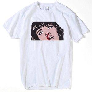 100% camisetas de algodón de la película Mia Wallace camisetas verano de los hombres de moda camiseta muchacha de Hip Hop Impreso Top Tees streetwear Harajuku divertido