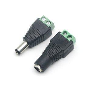 Adaptador de enchufe de conector de enchufe de enchufe de potencia DC / masculino DC 5.5x2.1mm para 5050 3528 Luz de tira de un solo color LED para cámara CCTV