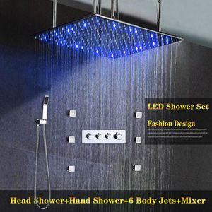 뜨거운 콜드 높은 흐름 3 물 흐름 기능 샤워 밸브 세트 50x50 CM 큰 천장 레인 샤워 헤드 6 스파 Massge 제트