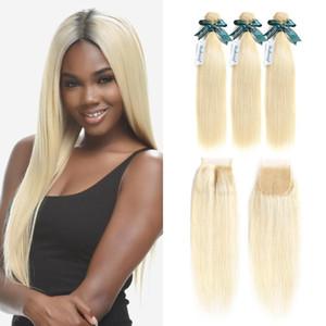 Straight 613 Blonde Bundles with Closure 4x4 Closure with Brazilian Blonde Bundles Virgin Hair Bundles