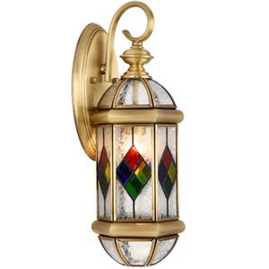 Antique Brass Decora лампа Outdoor / Indoor светодиодного дизайна стеклянных стен Бра D20cm латунь цвет Бра лампа Настенные Кронштейны освещение