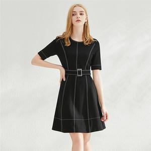 Abiti Donna Solid colore Slim romana panno temperamento A-Gonna linea Casual manica corta vestito di estate del O-collo del vestito da modo