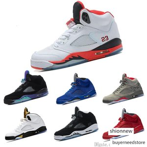 5 Mans Basketball Shoes Olympic Metallic Gold Tongue 23 Fire Red Black Metallic Silver Oreo Grape Sneakers