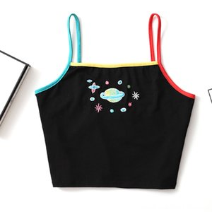Sexy Crop Women's Tops & Tees Women's Clothing Women Girls Color Planet Embroidery Harajuku Tank Top Cute Rainbow Srappy Casual Crop Top Fem