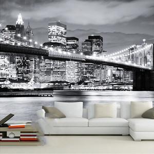 Custom Mural Night View Manhattan Bridge New York European And American Cities Black White Living Room Backdrop Wallpaper