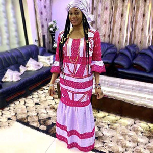 H&D plus size dashiki dresses african dresses for women with ruffles bazin riche traditional long dress women's clothing headtie