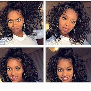 Short Curly Kinky Wigs for Black Women Loose Curly Wave Synthetic Lace Front Wigs Short Bob Wigs Fashion Hair 150% Density 14 inch