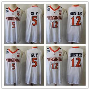 2019 Campeones Virginia Cavaliers Kyle Guy Jersey blanco # 5 UVA NCAA Final Four 12 De'Andre Hunter ACC Jersey de baloncesto universitario masculino S-2XL