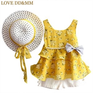 LOVE DD&MM Girls Sets 2020 Children's Summer Fashion Kids Clothes Girls' Sling Floral Bow Pearls Chiffon Set with Hats