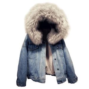 Bouton chaud d'hiver Casual poches Goutte manches épaule Manteau court en fausse fourrure Doublé Parkas épais Outcoat capuche Jean Veste en jean pour les femmes