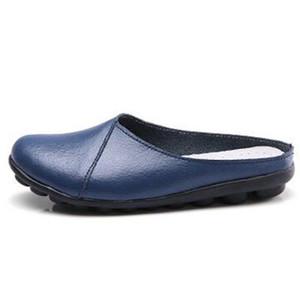 Hot Sale-CEYANEAO2019Fashion Femme Véritable Leathe Chaussure Nouvel Été Respirant Pantoufles Casual Doux Plat Diapositives Pois Chaussure pour WomenE181