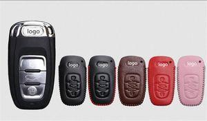 [Mikrofon] Audi A4L A6L Q3 Q7 Q5 A7 A3 A5 İçin Araç Anahtar Vaka gerçek üstü tabakası deri anahtar koruma kapağı stil logo kadın erkek rozeti hediye amblem