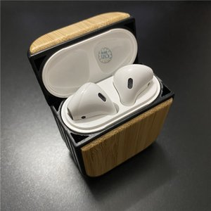 Wholesale Blank Wood AirPods Case for Apple iPhone 11 PRO XR XS Bamboo Real Wood Wireless Bluetooth Earphone Case for DIY Carving Custom