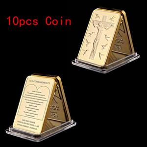 10 шт. / Лот Иисус Христос 10 заповеди Ролл Бар Craft 24K Позолоченная Challenge Монета