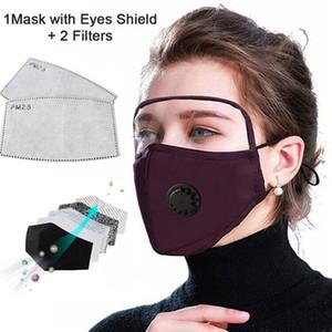 2 en 1 Masque visage avec coton lavable Valve anti-poussière Eye Shield Masque Masque Cyclisme réutilisable visage avec protection écran facial