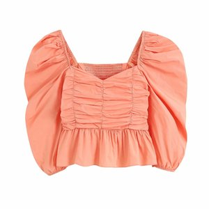 2020 women fashion solid color press pleated smock blouse female puff sleeve ruffles casual slim shirts chic blusas tops LS6745