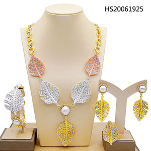 Yulaili Trendy Dubai Gold Jewelry Sets for Women Tricolor Leaf Shape Crystal Bridal Pendant Necklace Earrings Bracelet Ring Jewellery