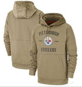 New Mens Frauen Jugendliche Pittsburgh Steelers Tan Vintage-Sweatshirt 2019 Salute to Service-Sideline Therma PulloverHoodie Jackets