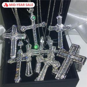 Vecalon Handmade Hiphop Big Cruz pingente de prata esterlina 925 Cz Pedra Vintage Pingente de colar para As Mulheres homens Jóias de Casamento