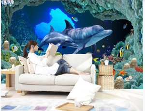 Custom 3D stereoscopic underwater world dolphin TV background wall 3d stereoscopic wallpaper