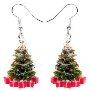 Kadınlar Kızlar Gençler Süsler Aksesuarlar için Akrilik Noel ağacı Hediye Küpe Bırak Dangle Dekorasyon Navidad Takı