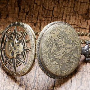 2019 Vintage Bronze стимпанк кварцевые карманные часы Halloween карибский пират Череп Глава часы Horror с цепочкой для мужчин ожерелье