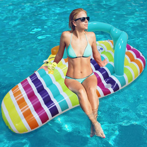 New 158*70CM Swimming Pool Floating Swimming Pool Toy Slipper Sandals Shape Float Water Hammock Recliner Inflatable Leisure Sunbathe Bed #R6