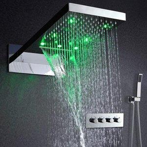 22 Led termostática Shower Set Rain And Waterfall Shower Head salvar a água chuveiro de mão Válvula Cachoeira Banheira de Hidromassagem Torneiras Duche