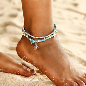 ZCHLGR Vintage Beads Sea Turtle Anklets For Women Multi Layer Anklet Leg Bracelet Bohemian Beach Ankle Chain Jewelry Gift