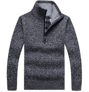 Männer starke warme gestrickte Pullover Fest Langarm Rollkragen Pullover Half Zip Wool Fleece Wintermantel Bequeme Kleidung