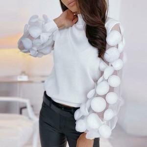 Le donne dolcevita Mesh Flower lungo Sheer maniche Maglione Pullover superiore camicetta