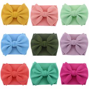 Bébés filles Bandeaux Bohême 25 couleurs Big Bows Bandeau Polyester Bubble Tissu Bow Hairband Solide Couleur élastique Scrunchie EUR 060530