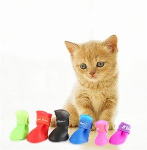 Mascota botas de goma zapatos impermeables del pie del perrito de protección del zapato Zapatos del perro del gato impermeable antideslizante botas de lluvia alimentos para mascotas A05
