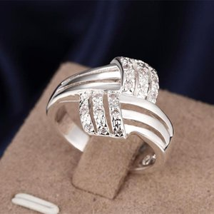 Classic Cross Tripe Rows Zircon Wedding Rings for Women Jewelry Silver Color Engagement Rings Female Anel Bijoux Gift