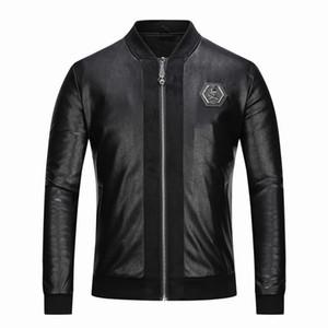 Yeni Garp moda rahat erkek kafatası nakış Siyah PU deri ceket beyzbol yaka ince Motosiklet Ceket