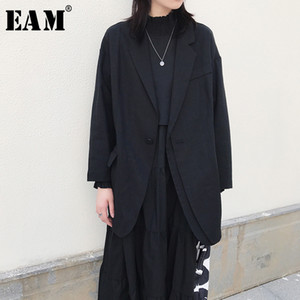[EAM] 2019 New Autumn Winter 옷 깃 긴 Sleeve Single Button 불규칙한 Brief 기질 Jacket Women Coat 패션 조수 JX240