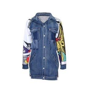 Wholesale- 2020 Spring Casual Jacket women basic coats harajuku Printing Coat Long Sleeve jacket Jeans Patchwork Outwear Irregular Coat
