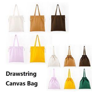 Sac en toile vierge Drawstring sac à dos en toile Drawstring tir à la corde Sacs fourre-tout stockage bricolage Drawstring shopping Sacs