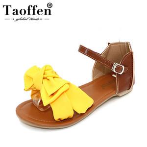 TAOFFEN Weisefrauensandelholze Böhmen bowknot Knöchelverpackungs-flache Sandalen Mode Damen Schuhe große Schuhgröße 31-45 P23538