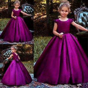 Niña de las flores de la vendimia vestidos de color morado oscuro vestido de primera comunión Una línea de raso vestido de niño del desfile de la longitud del piso vestido de fiesta de cumpleaños del arco niñas