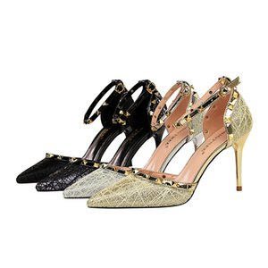 Многоцветный Мода Sexy Slim Stiletto женские туфли на высоком каблуке Туфли на высоком каблуке с мелким ртом заостренный полый с сандалиями jooyoo