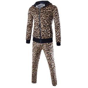 KANCOOLD 2019 Мужская леопардовый с капюшоном Джемпер Мужчины Slim Fit Осень Лоскутная Толстовка Топы Брюки Комплекты Спортивный костюм Nov25