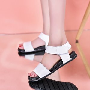 New Summer Sandals for Women Flat Shoes Woman Hoop & Loop Fashion Simple White Ladies Flats Sandals dcv45
