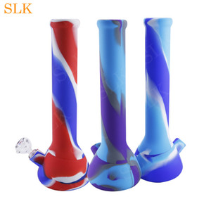 13.2'' silicone bong design Silicone Water Pipe Exquisite Silicone Beaker Bong Unbreakable Oil Rig with Glass Bowl,Silicone Downstem