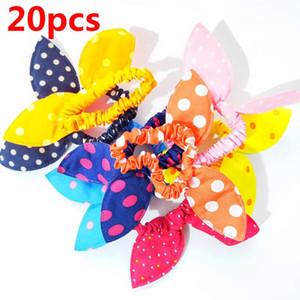 20Pcs Lot Fashion Elastic Hair Bands Ears Scrunchy Headband Girls Cute Hair Accessories Fabric Polka Dots Headwear