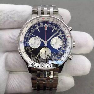 Nuovo V2 Navitimer 01 AB012012 Lunetta girevole Quadrante blu ETA A7750 Cronografo automatico Orologio da uomo Best Edition Super Orologi Puretime JC3