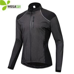 WOSAWE Winter Dünne Thermo-Fleece-Radjacke Männer Warme MTB Fahrradbekleidung Sportbekleidung Windjacke Wasserabweisend Sport Mantel